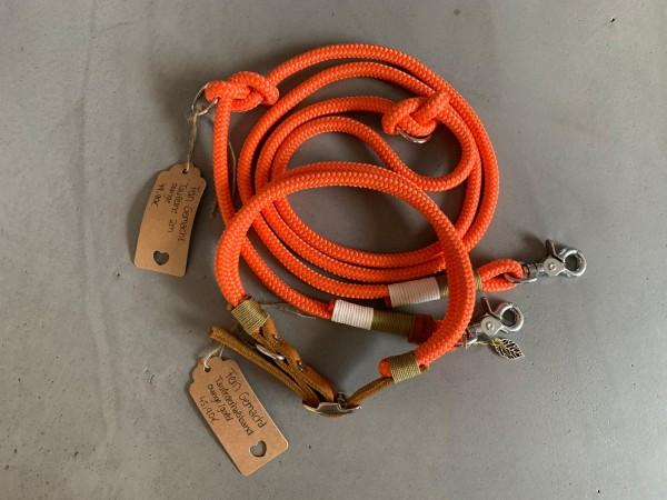 PPM- Leinenset mit Tau-Lederhalsband in orange
