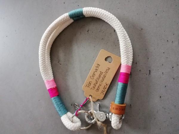 3-farbig getakeltes Tauhalsband creme-türkis-rosa
