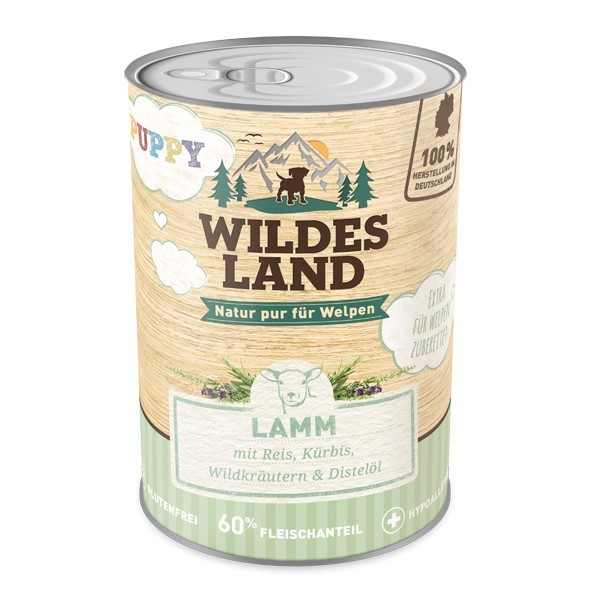 Puppy Lamm mit Reis, Kürbis, Wildkräutern & Distelöl