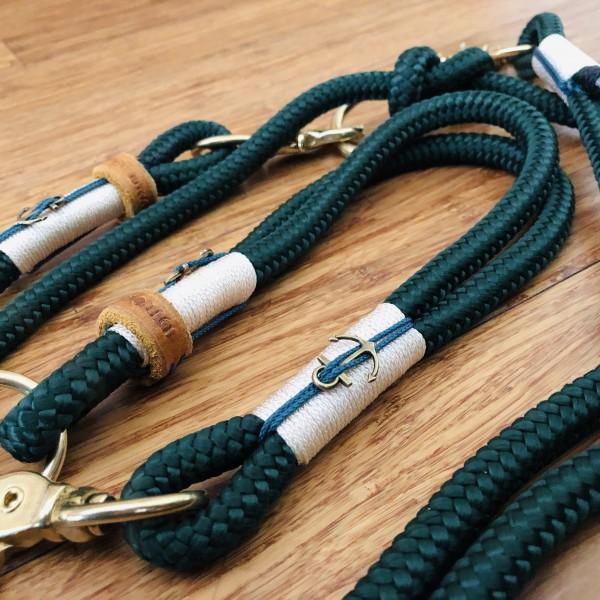 """Mediterranes Tau-Leinenset """"ANKER"""" mit passendem Halsband"""