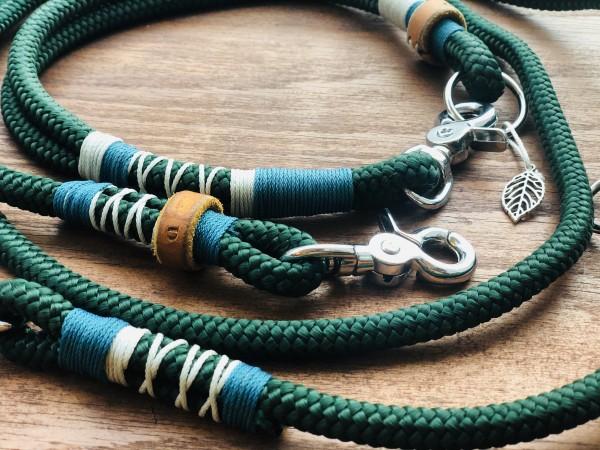 """Grünes Tau-Leinenset """"FEDER"""" mit passendem Halsband"""